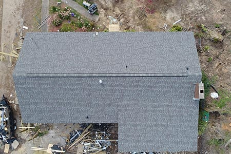 Top view of completed roof job